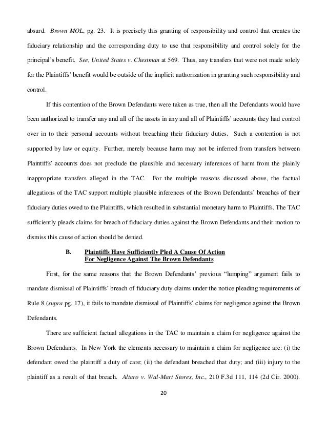Memorandum of Law in Opposition to Defendants Motions to Dismiss the …