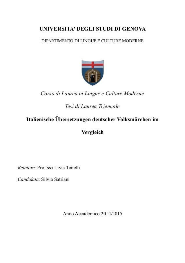 UNIVERSITA' DEGLI STUDI DI GENOVA DIPARTIMENTO DI LINGUE E CULTURE MODERNE Corso di Laurea in Lingue e Culture Moderne Tes...