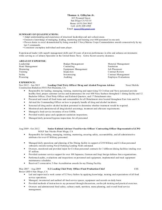 navy operations specialist resume