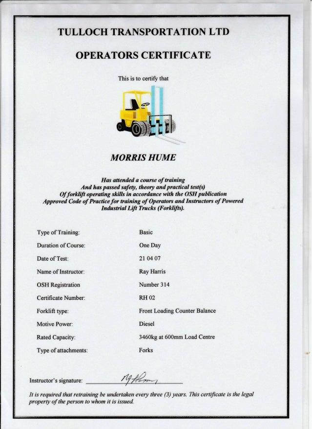 Tulloch Transportation Operators Certificate 21 April 2007
