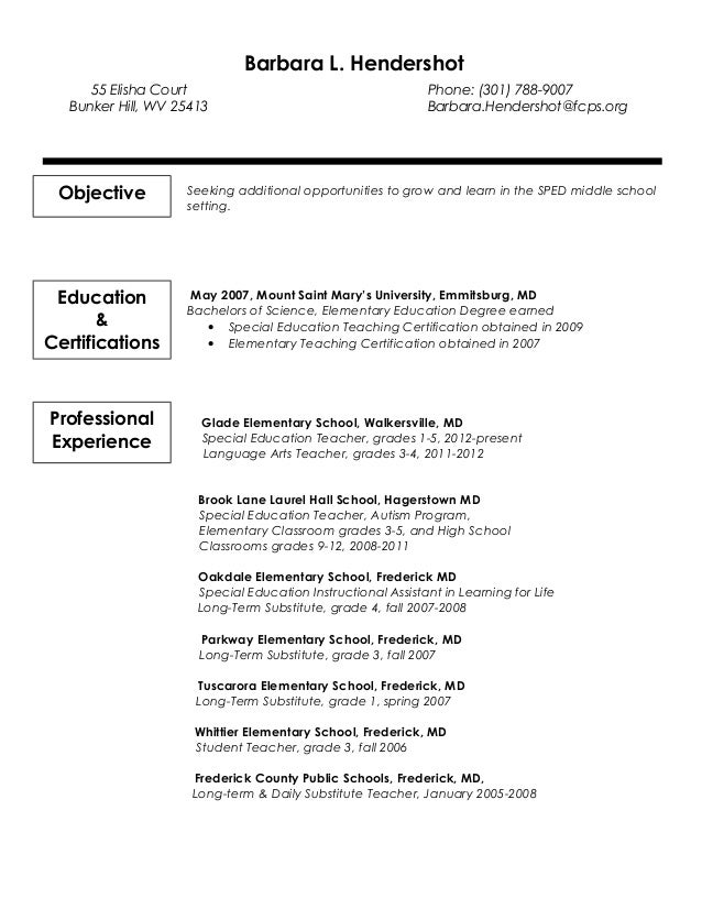 Barbara L. Hendershot Glade Elementary School, Walkersville, MD Special Education  Teacher, ...  Long Term Substitute Teacher Resume