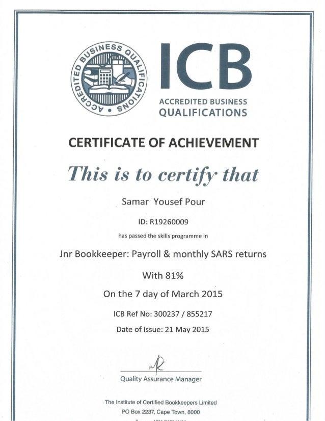samar - damelin icb certificate payroll & monthly sara return