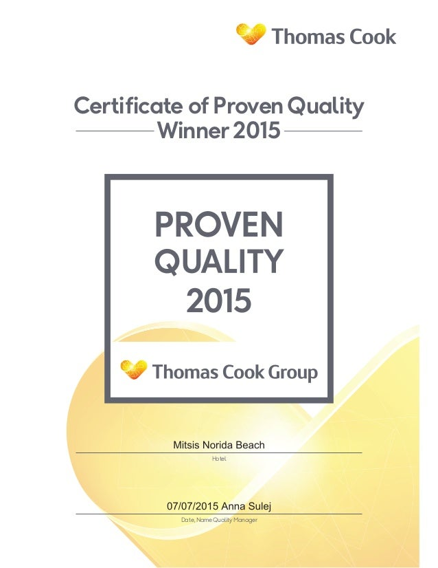 Certificate of ProvenQuality Winner 2015 Hotel Date,NameQuality Manager