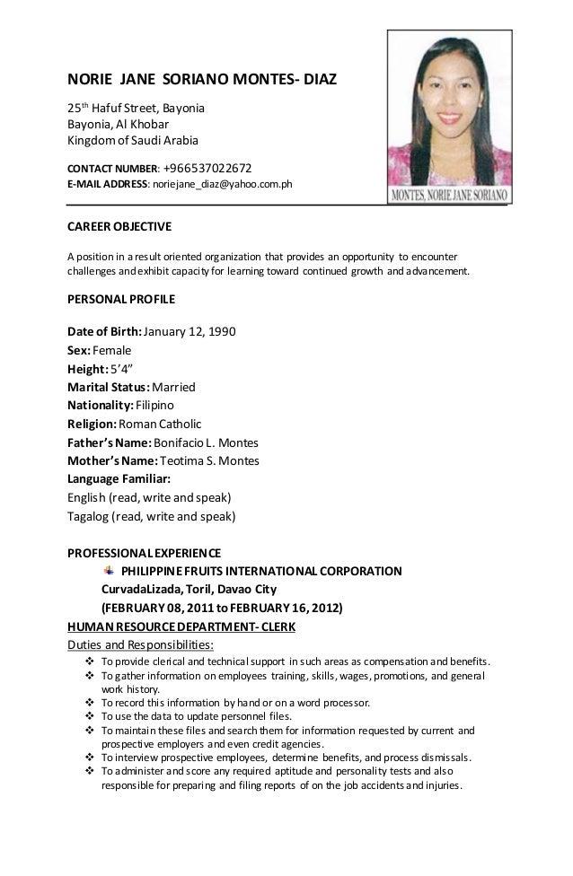 my new resume  norie jane montes