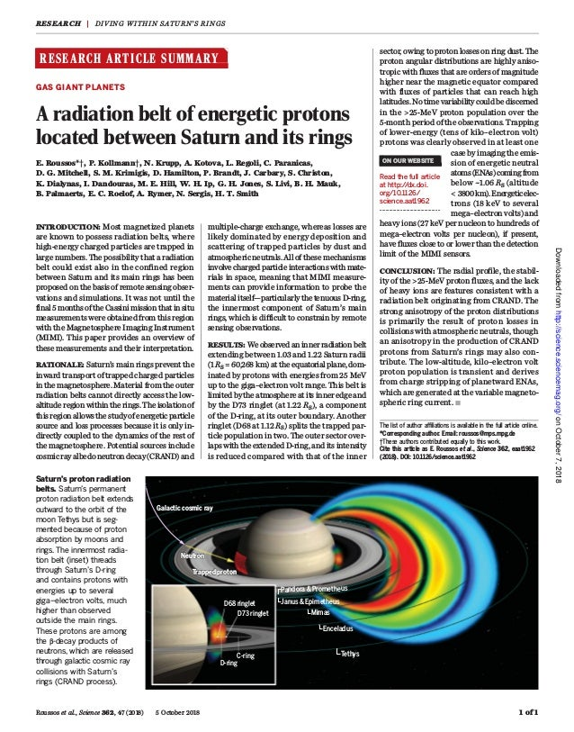 RESEARCH ARTICLE SUMMARY ◥ GAS GIANT PLANETS A radiation belt of energetic protons located between Saturn and its rings E....