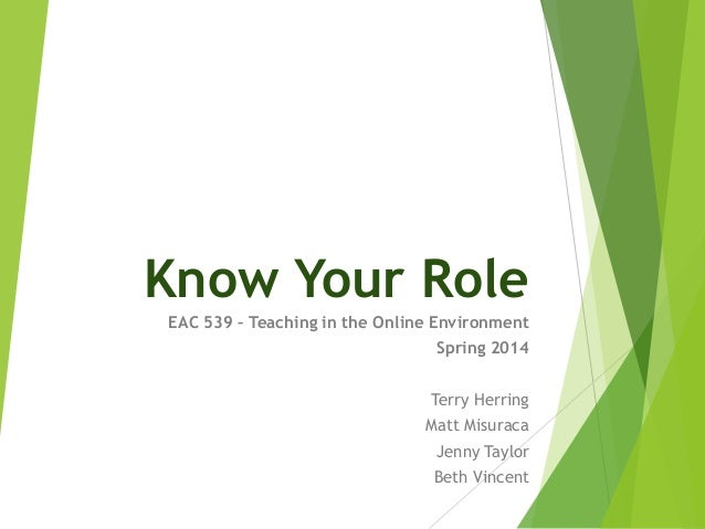Know Your Role EAC 539 – Teaching in the Online Environment Spring 2014 Terry Herring Matt Misuraca Jenny Taylor Beth Vinc...