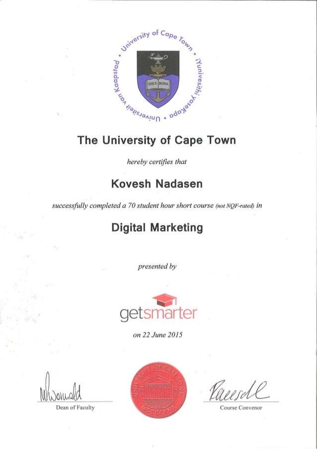 Kovesh Nadasen Digital Marketing Short Course Certificate