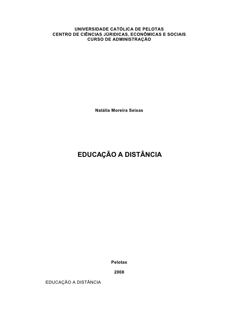 UNIVERSIDADE CATÓLICA DE PELOTAS   CENTRO DE CIÊNCIAS JÚRIDICAS, ECONÔMICAS E SOCIAIS                CURSO DE ADMINISTRAÇÃ...