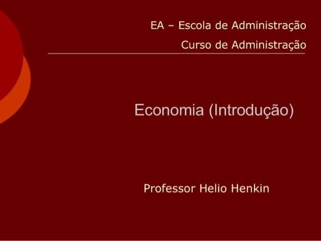 Ead Apostila 11 Hh Economia (IntroduçãO) Para AdministraçãO