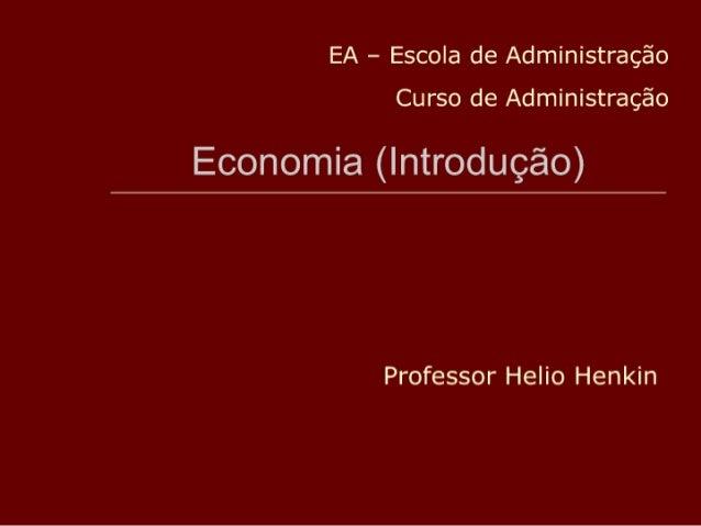Ead Apostila 2 Hh Economia (IntroduçãO) Para AdministraçãO