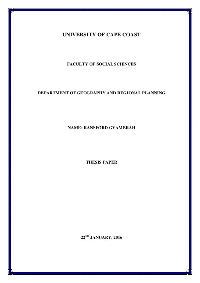 Thesis on solid waste management in ghana