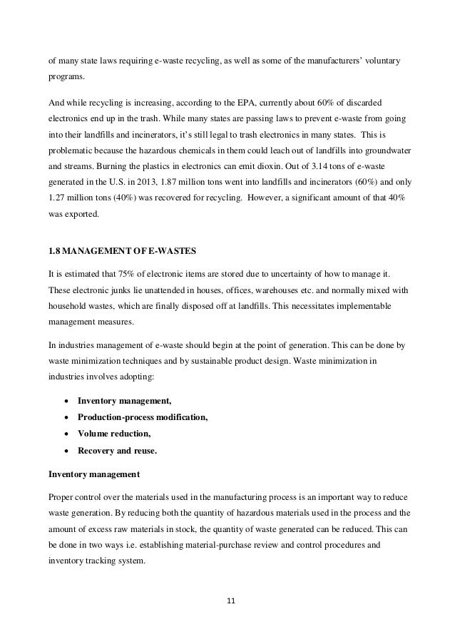 thesis on e waste management Master of natural resources management this thesis considers the solid waste management system in darjeeling municipal area, west bengal, india.