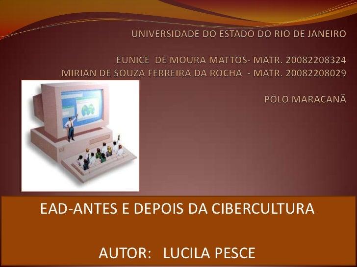 UNIVERSIDADE DO ESTADO DO RIO DE JANEIRO                                                  EUNICE  DE MOURA MATTOS- MATR. 2...