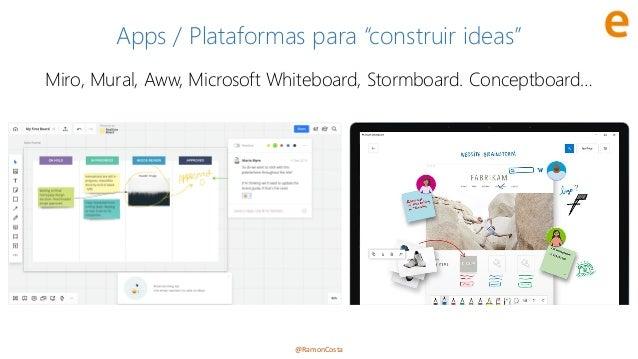"""@RamonCosta Apps / Plataformas para """"construir ideas"""" Miro, Mural, Aww, Microsoft Whiteboard, Stormboard. Conceptboard…"""