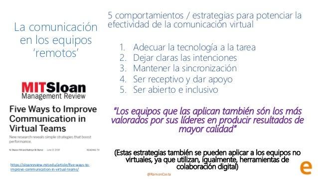 @RamonCosta La comunicación en los equipos 'remotos' 5 comportamientos / estrategias para potenciar la efectividad de la c...