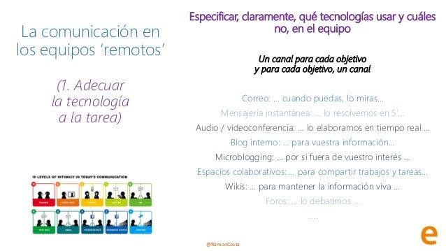 @RamonCosta La comunicación en los equipos 'remotos' (1. Adecuar la tecnología a la tarea) Especificar, claramente, qué te...