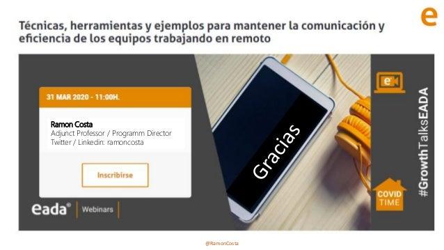 @RamonCosta Ramon Costa Adjunct Professor / Programm Director Twitter / Linkedin: ramoncosta