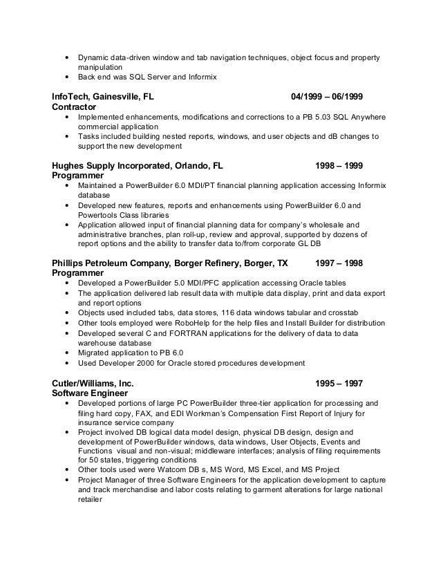 pfc powerbuilder resume