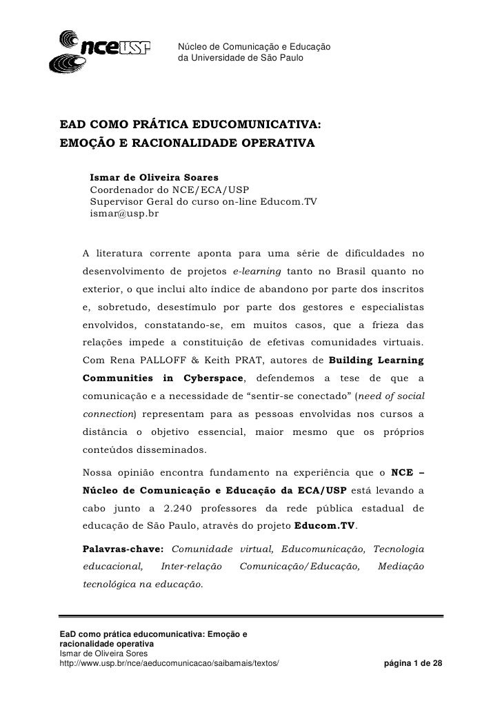 Núcleo de Comunicação e Educação                                      da Universidade de São Paulo                        ...
