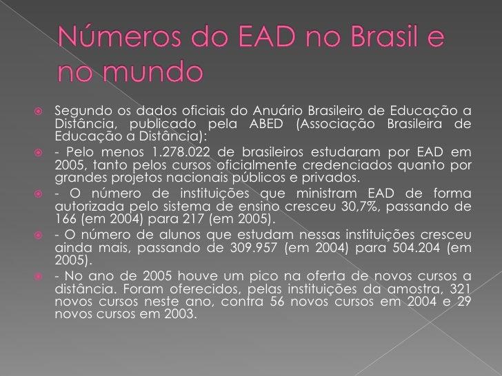 Segundo os dados oficiais do Anuário Brasileiro de Educação a      Distância, publicado pela ABED (Associação Brasileira ...