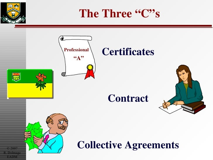 """The Three """"C""""s Certificates Contract Collective Agreements Professional """" A"""""""
