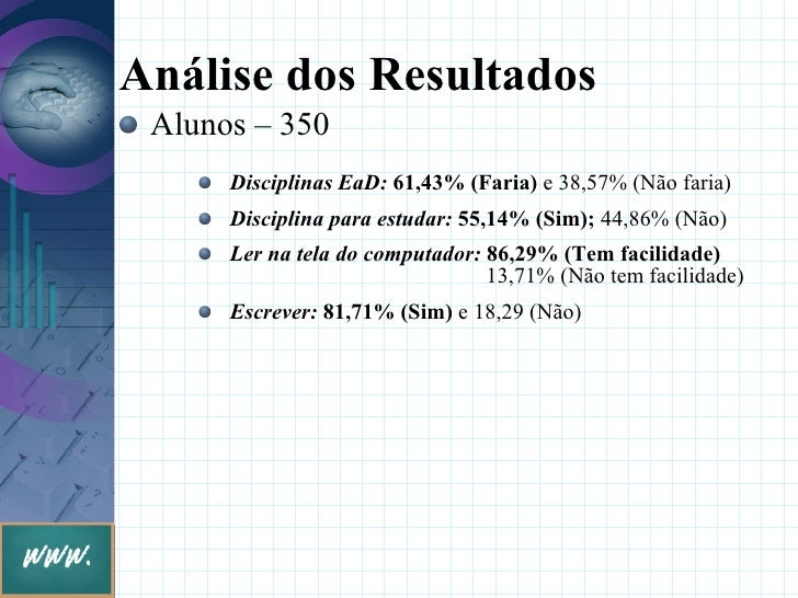 Análise dos Resultados  Alunos – 350       Disciplinas EaD: 61,43% (Faria) e 38,57% (Não faria)       Disciplina para estu...