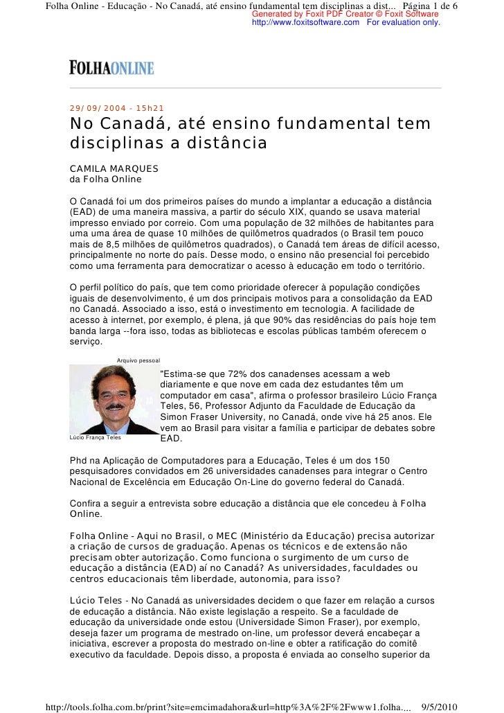 Folha Online - Educação - No Canadá, até ensino fundamental tem disciplinas a dist... Página 1 de 6                       ...
