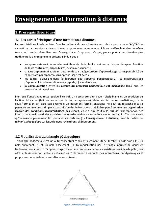 Enseignement et Formation à distance 1. Prérequis théoriques 1.1 Les caractéristiques d'une formation à distance La caract...