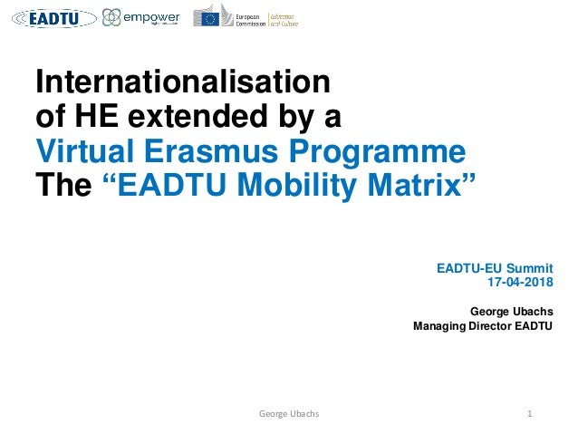 "Internationalisation of HE extended by a Virtual Erasmus Programme The ""EADTU Mobility Matrix"" EADTU-EU Summit 17-04-2018 ..."