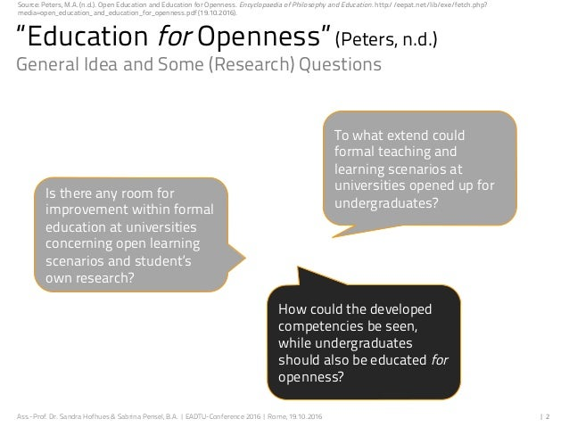 Educating undergraduate students for openness Slide 2