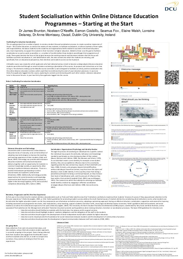 Student Socialisation within Online Distance Education Programmes – Starting at the Start Dr James Brunton, Noeleen O'Keef...