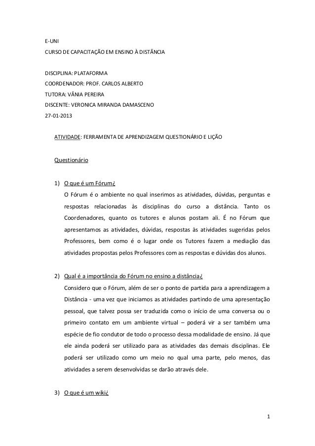 E-UNICURSO DE CAPACITAÇÃO EM ENSINO À DISTÂNCIADISCIPLINA: PLATAFORMACOORDENADOR: PROF. CARLOS ALBERTOTUTORA: VÂNIA PEREIR...