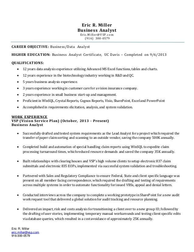 Eric Miller S Analyst Resume 2016