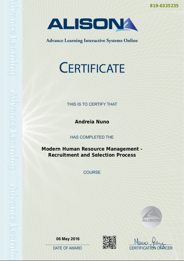 modern hr management - recruitment and selection process certificate