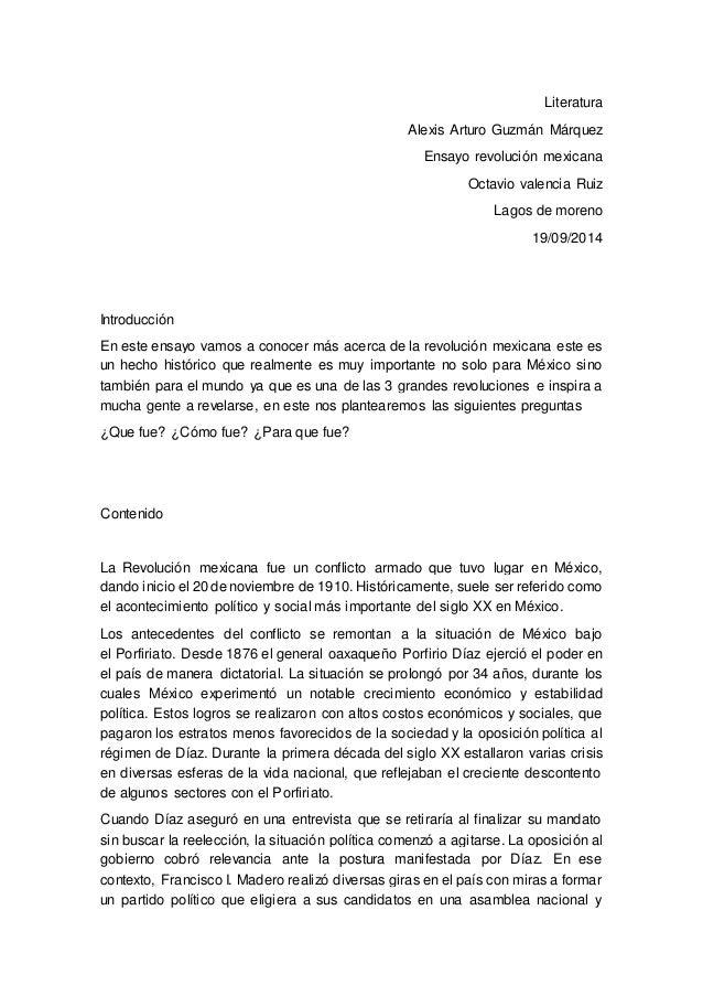 Literatura  Alexis Arturo Guzmán Márquez  Ensayo revolución mexicana  Octavio valencia Ruiz  Lagos de moreno  19/09/2014  ...