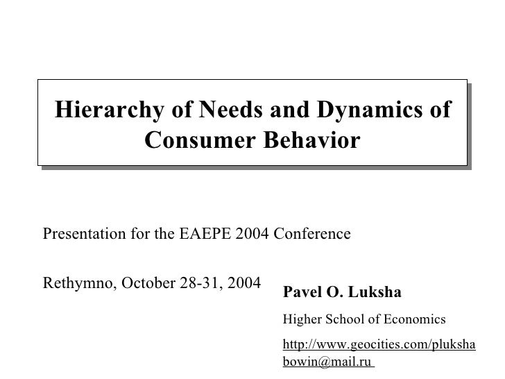 Hierarchy of Needs and Dynamics of Consumer Behavior Pavel O. Luksha Higher School of Economics http://www.geocities.com/p...