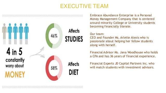 EXECUTIVE TEAM Embrace Abundance Enterprise is a Personal Money Management Company that is centered around minority Colleg...