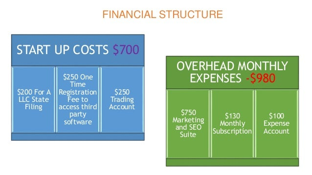 FINANCIAL STRUCTURE START UP COSTS $700 $200 For A LLC State Filing $250 One Time Registration Fee to access third party s...