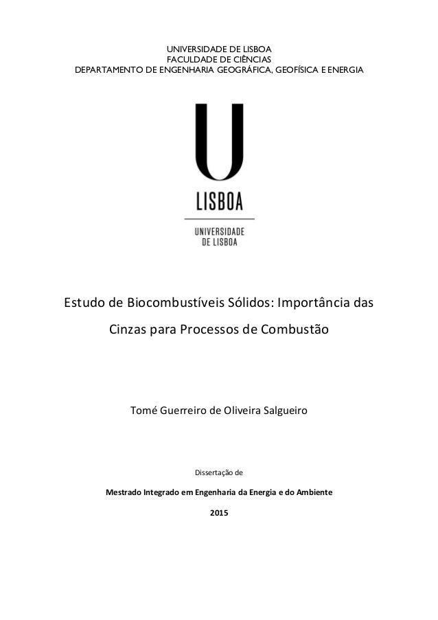 UNIVERSIDADE DE LISBOA FACULDADE DE CIÊNCIAS DEPARTAMENTO DE ENGENHARIA GEOGRÁFICA, GEOFÍSICA E ENERGIA Estudo de Biocombu...