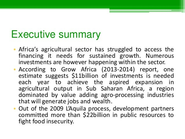 Agriculture Investments in Eastern Africa (2012/13-2014)