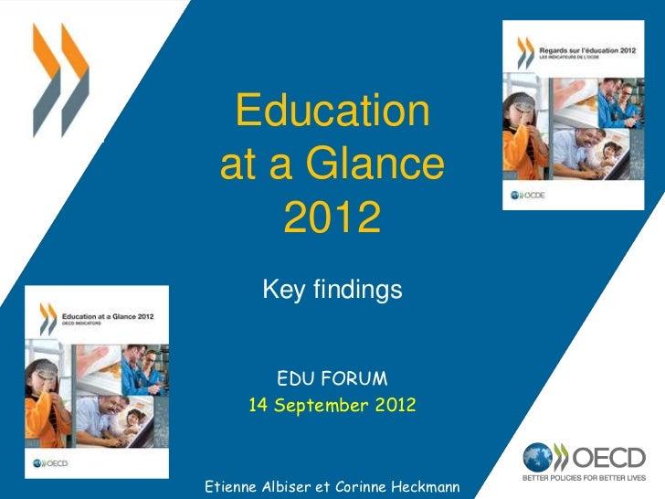 Education at a Glance     2012       Key findings        EDU FORUM     14 September 2012Etienne Albiser et Corinne Heckmann