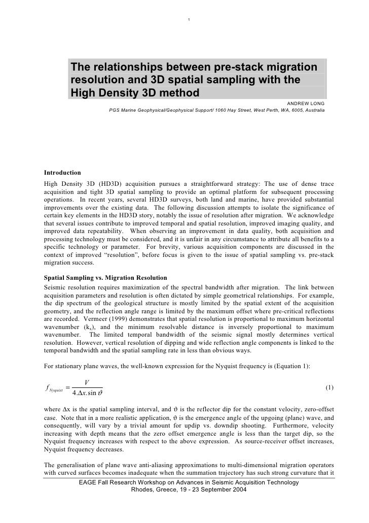 1                   The relationships between pre-stack migration               resolution and 3D spatial sampling with th...