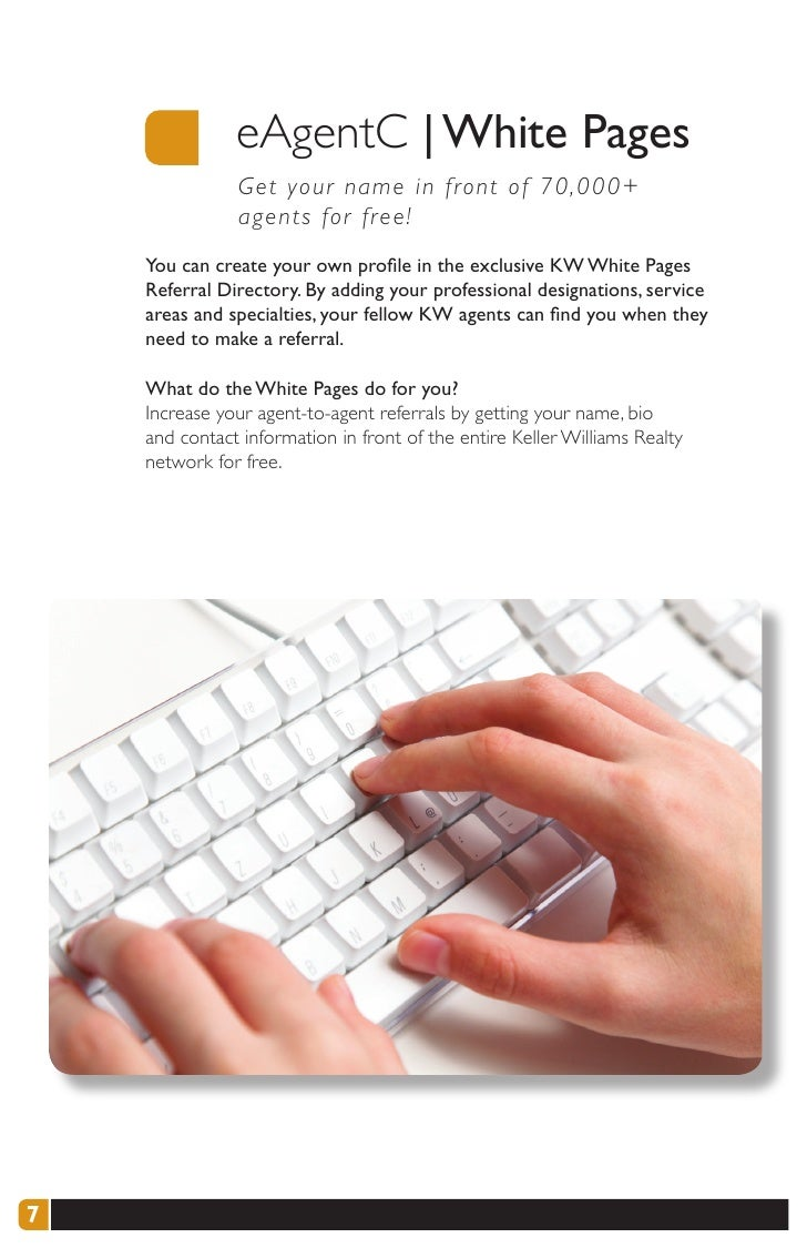 eAgentC   White Pages                G et your name in front of 70,000+                a gents for free!     You can creat...