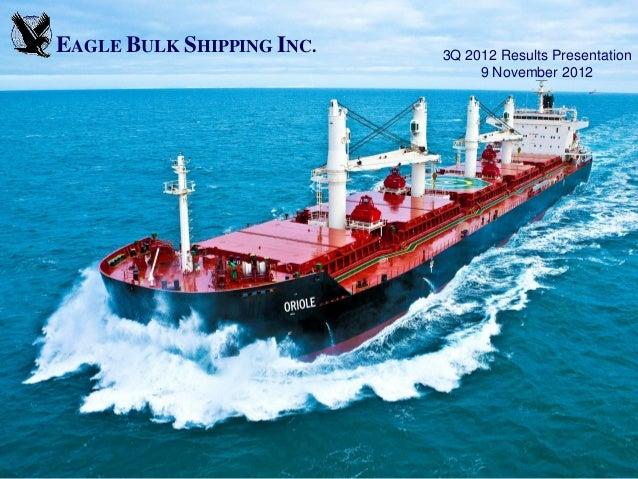 EAGLE BULK SHIPPING INC.   3Q 2012 Results Presentation                                9 November 2012