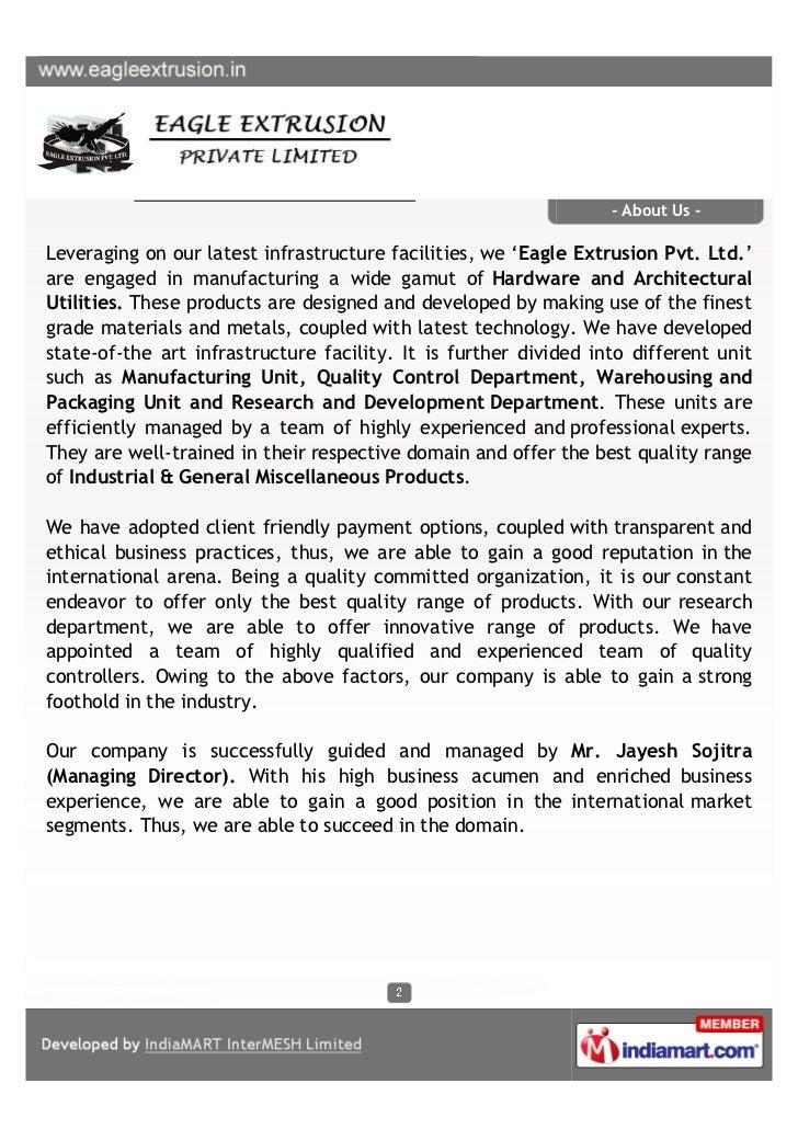 Eagle Extrusion Pvt. Ltd, Surat, Architectural Utilities Slide 2