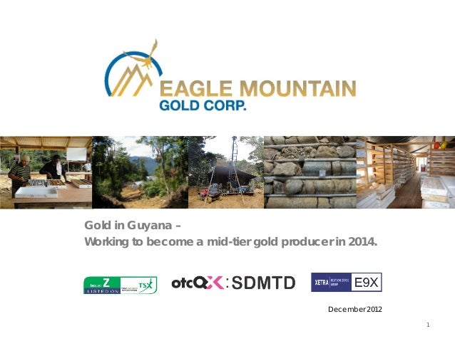 Gold in Guyana –Working to become a mid-tier gold producer in 2014.                                          December 2012...