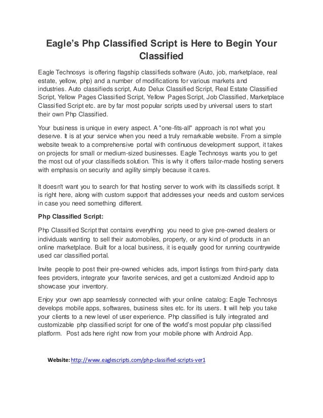 Eagle\'s Php Classified Script is Here to Begin Your Classified