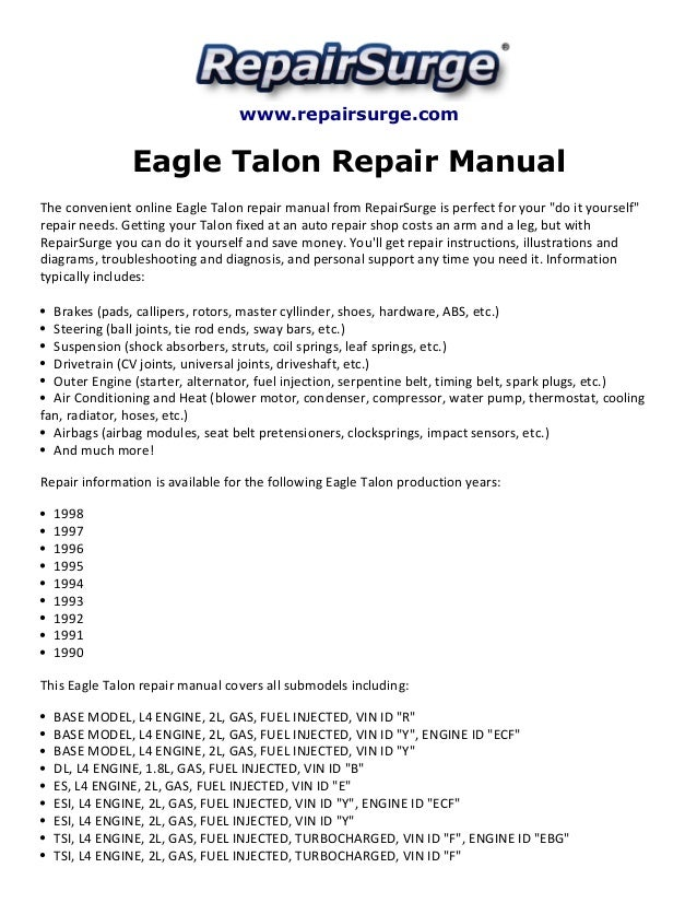 eagle talon repair manual 1990 1998 rh slideshare net 1991 Eagle Talon 1994 Eagle Talon