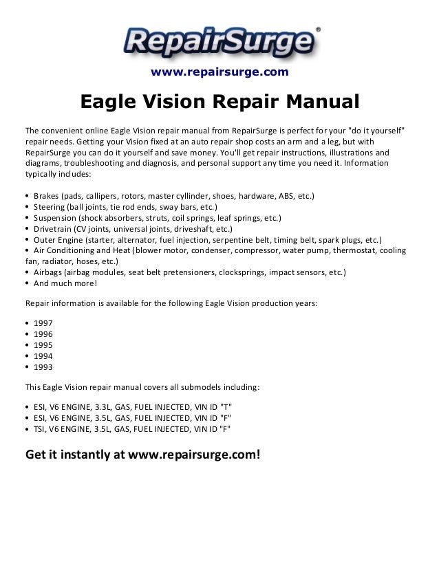 eagle vision repair manual 1993 1997 rh slideshare net Eagle Talon TSI AWD Turbo White Rims 1995 Eagle Talon Esi