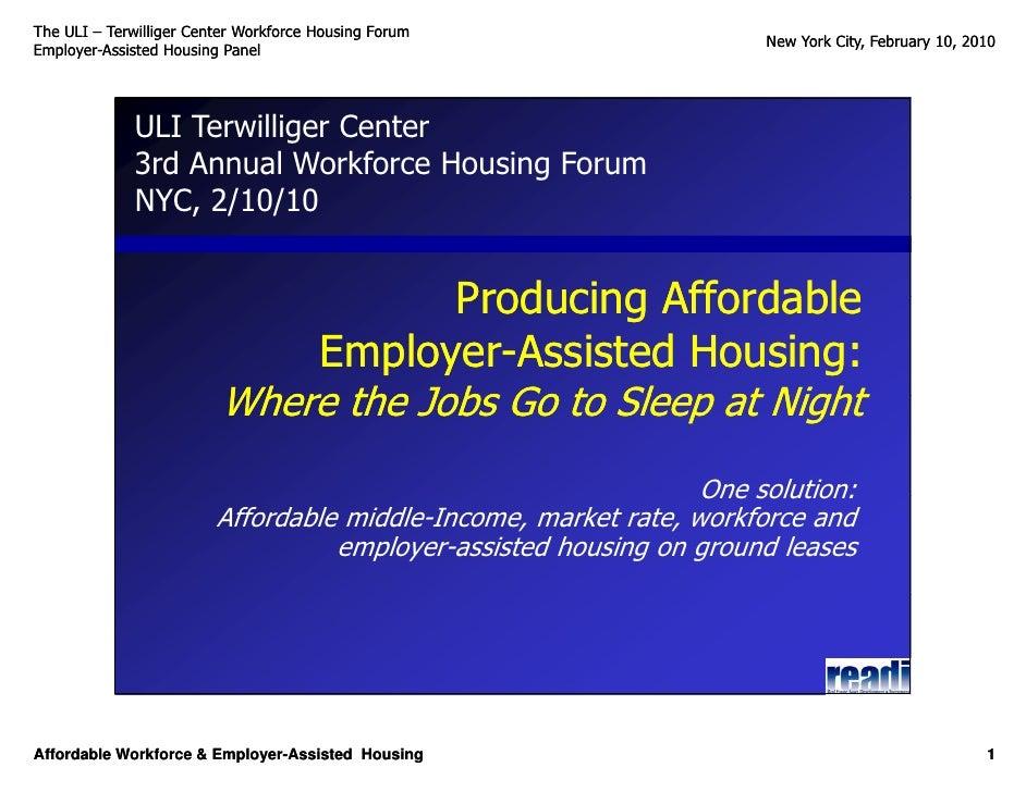 The ULI – Terwilliger Center Workforce Housing Forum                                                                      ...